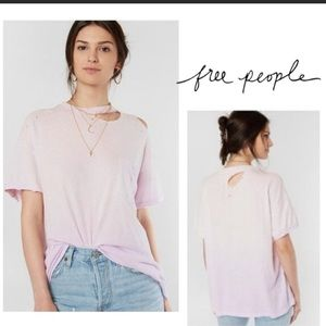 NWT Free People Lucky Distressed Lavender T-shirt